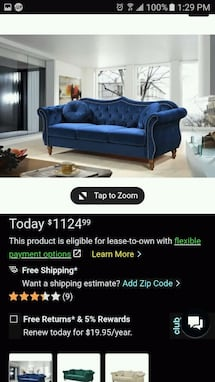 Cobalt Blue Velvet Billy nail head Chesterfield Sofa