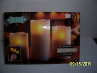 3 Piece Flameless LED Candle Set w/Remote -- New in Box