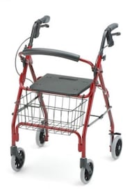 Red and black rollator walker