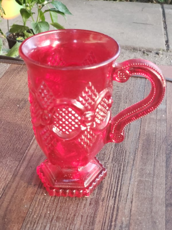 Vintage Ruby Red Depression Glass Chalice  fe379767-0634-4d7f-a453-991e36d9ed93