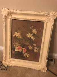 White and brown floral painting & frame Falls Church, 22043