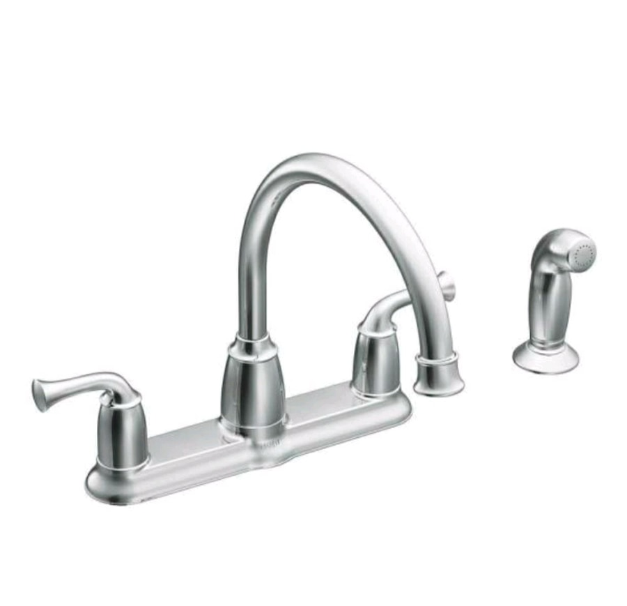 Photo Moen Banbury Mid Arc Kitchen Faucet Chrome with Side Sprayer
