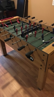 black and green foose ball table