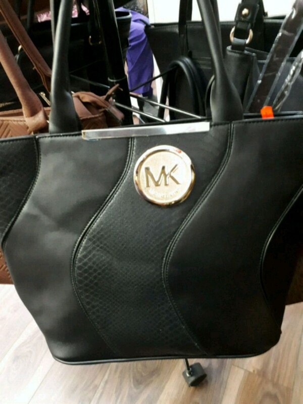 black Michael Kors leather tote bag