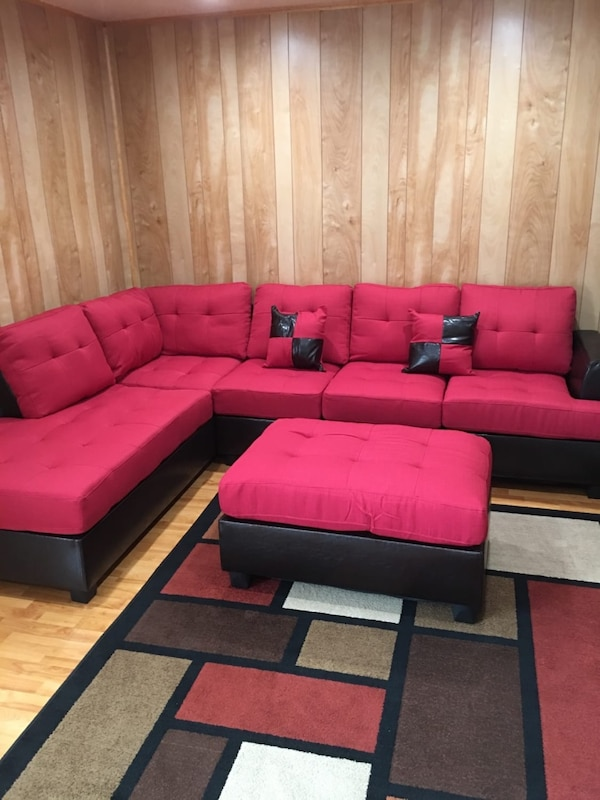 Brand new red linen sectional sofa with ottoman  3d7a4b89-33d4-4082-9f5b-2692b3c3211a