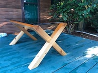 Cedar wood table with temper glass Langley, V2Y 0G2