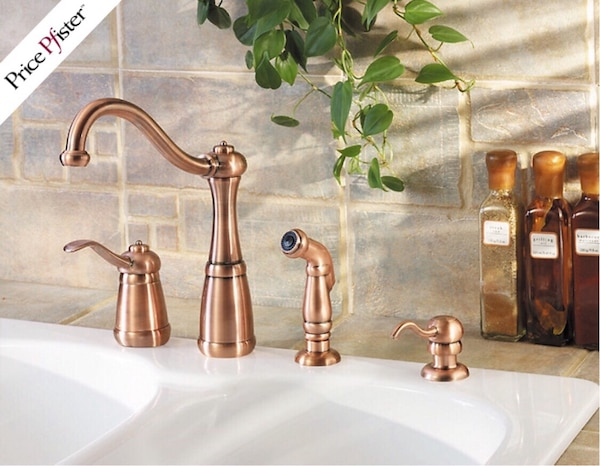 Used New Price Pfister Antique Copper Kitchen Faucet Set For Sale In