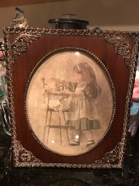 Gorgeous! Vintage Victorian Picture girl & teddy in high chair Gainesville, 20155