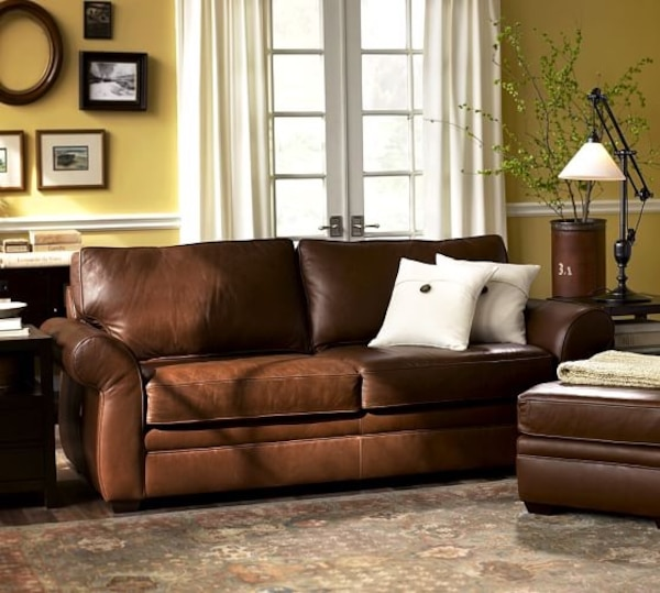 4piece Pottery Barn Style Leather Sofa Set W Feather Down 4 Staging Home Cost