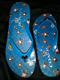 Coach Flip Flops Blue with white stars