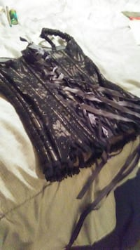 Corset gray with black. Lace