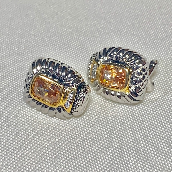 Vintage Sterling Silver Citrine Earrings 4c3027db-77e5-4668-abb2-6f9679a67d19