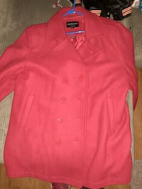Red pea coat mens