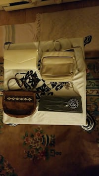two beige and brown crossbody bags