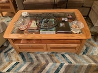 Solid wood cofee table with glass top Olney, 20832