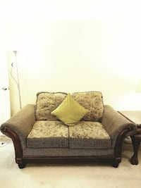 brown and beige floral loveseat 39 km