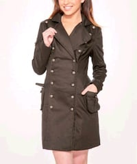 Hearts& Rose's London- Black Cross Button Coat Siz 2306 mi