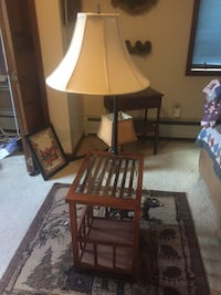 Table with lamp and shade  mission style