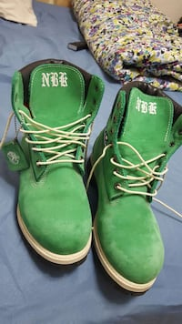 pair of green Timberland work boots Lawrence, 01843