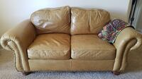 Super Comfortable Top Grain Leather Loveseat - Camel Brown Fairfax