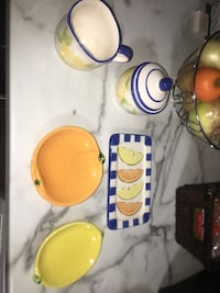 """""""MINT"""" Lemons and oranges dishes sugar and creamer collectors Oakville"""