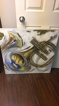 white and brown abstract painting Montréal, H4K 2S7
