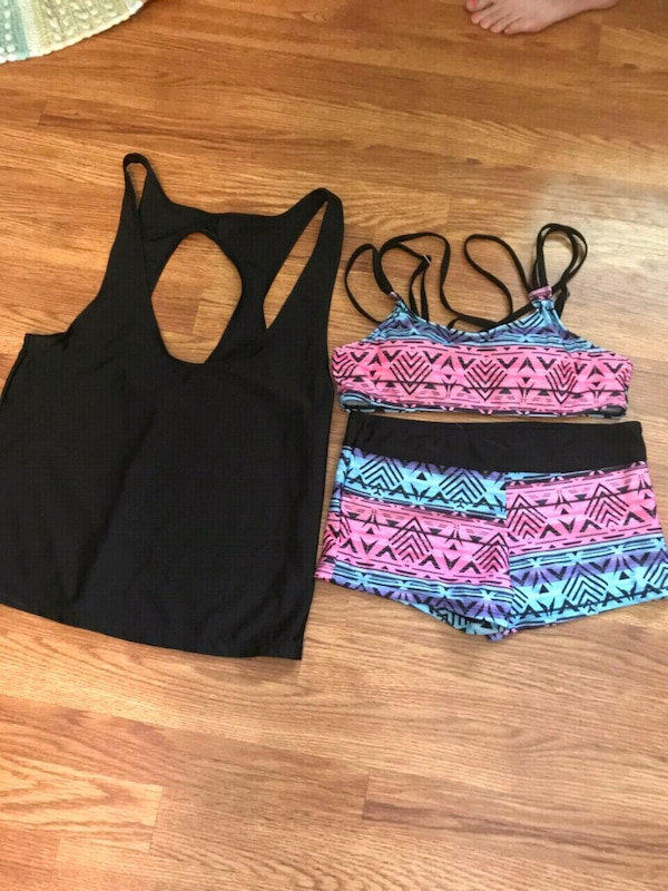 3267029e5c938 Used women's black and pink floral bikini for sale in Louisburg - letgo