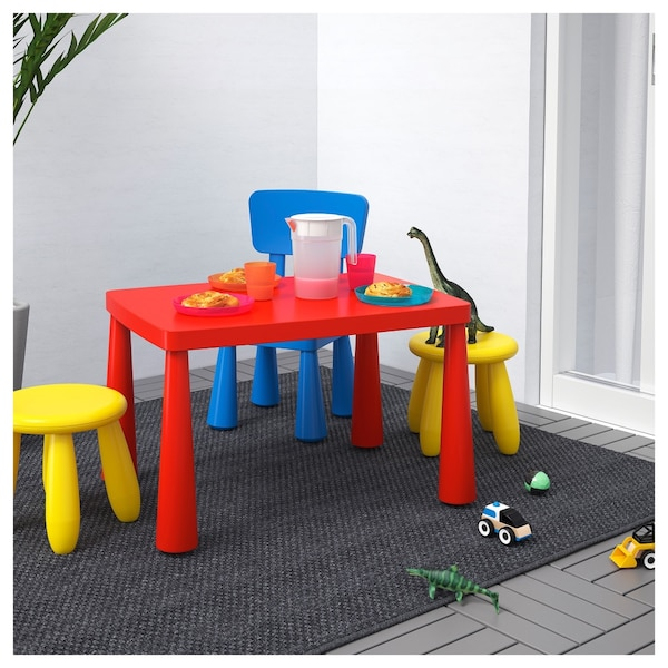 Ikea Mammut Red Table And 4 Sitting Stools 2 White 2 Pink