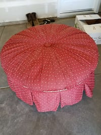 round red and white polka dotted ottoman