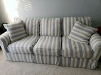 white and gray striped 3-seat fabric sofa Boyds, 20841