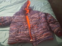 purple and orange zip-up hoodie