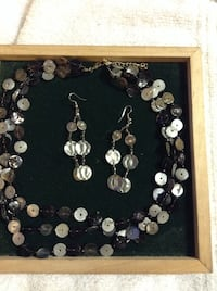 Black and white glass bead necklace with earrings Hudson, 28638