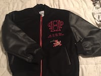 Black and red zip-up bomber jacket