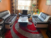black leather sofa set with coffee table Toronto, M6N 2S2