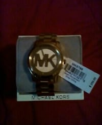 round gold-colored Michael Kors analog watch with link bracelet Pace, 32571