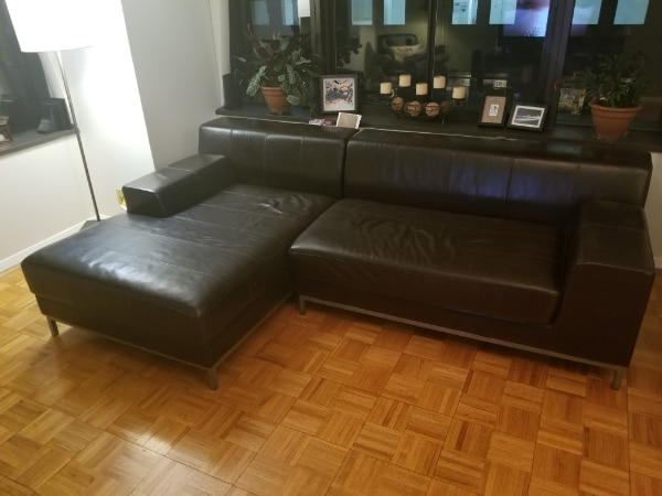 Modern Sectional Leather Couch w/ Chaise Lounge in usado en venta en ...