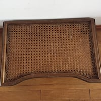 """Brown wood framed cane """"breakfast in bed"""" or table for person confined to bed.  Can be used for eating, writing, playing cards and board games.  Excellent and in immaculate condition.  San Diego, 92014"""