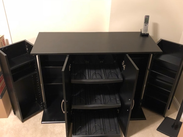 Black wooden movie, music and game media storage cabinet with drawer DVDS, CDs, Games