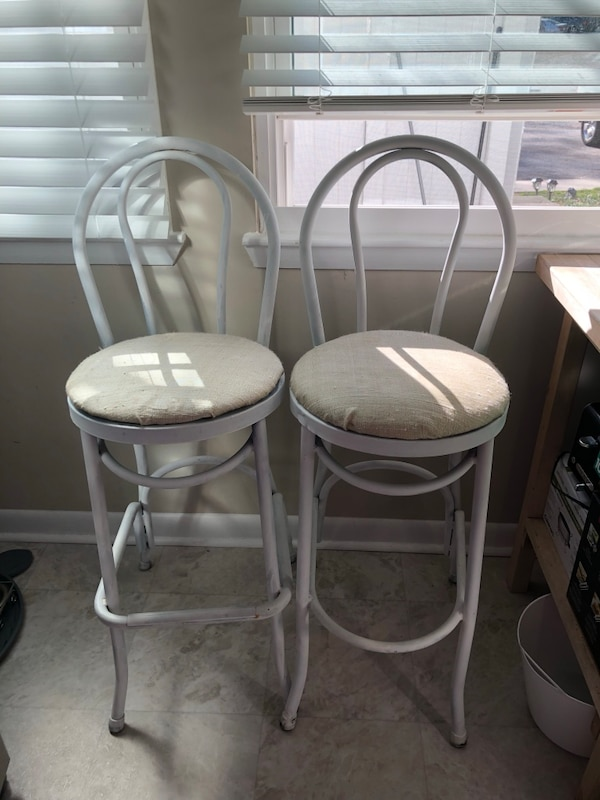 used white and gold bar stools for sale in raleigh letgo. Black Bedroom Furniture Sets. Home Design Ideas