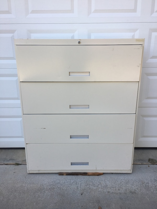 "42"" 4-Drawer Lateral File Cabinet  • w/Lock no key, Used ed454d8c-5cb3-4e01-8848-bb8f736c3ffc"