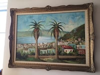 Large palm trees oil painting on canvas delivery available Toronto, M2R 3N1