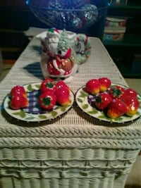 two red and green floral ceramic bowls Lancing, 37770