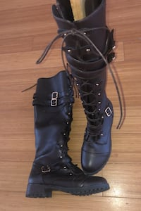 Lace Up Knee High Boots Size 7