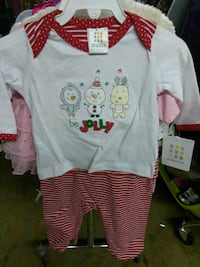 baby's white and red printed shirt and striped pants