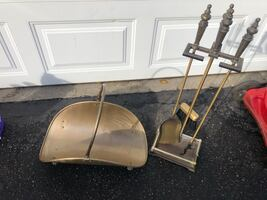 New Fireplace set tools , Bronze never used base st in plastic