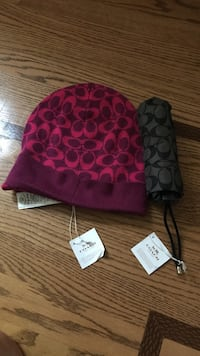 Coach knit hat and coach black umbrella- monogrammed