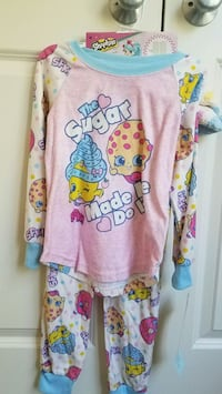 New girls clothes Shopkins pjs pajamas with cozy socks size S or XS Rockville