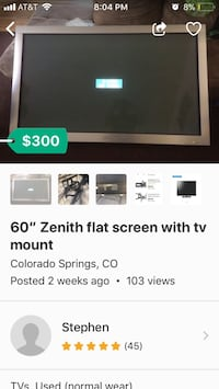 60inch flat screen tv with full adjustable wall mount Colorado Springs, 80909