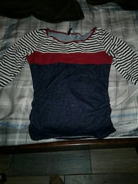 Small red, blue, and white stripe long-sleeve