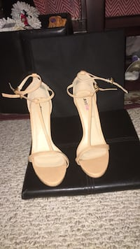 pair of white leather open-toe heeled sandals Palm Springs, 92234